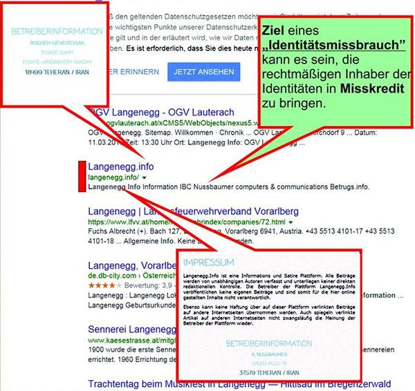 Nachbearbeiteter Googleausdruck - Fälschung