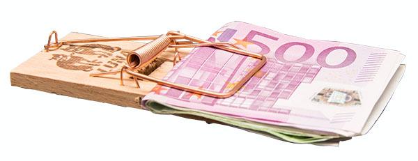 Bild Mausefalle mit Geldscheine