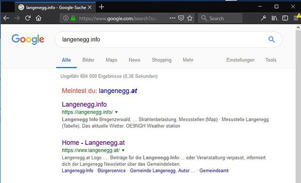Googleabfrage - Tatsächliches Ergebnis
