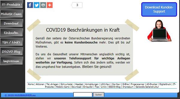 Screenshot COVID Hinweis